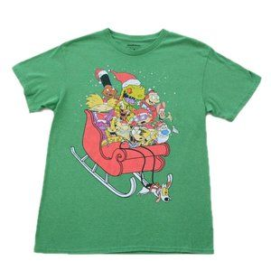 Nickelodeon Christmas Sledding Characters Shirt M